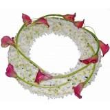 Аранжировка за погребение от бяла хризантема и кала
