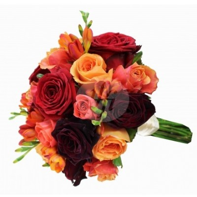 Bidal bouquet with roses and fresia BM228