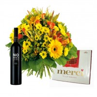 "Bouquet ""Zefir"" with chocolates and wine"