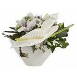 Аранжировка от Бял антуриум и орхидеи
